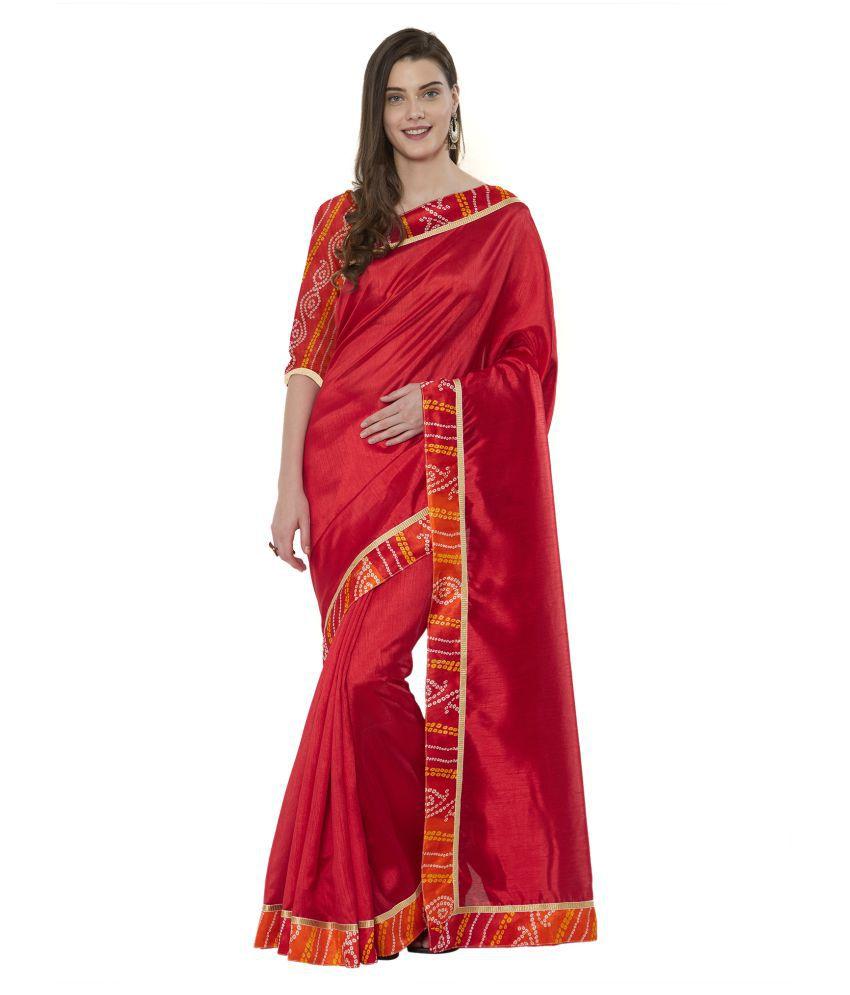 Vkaran Red Bangalore Silk Saree