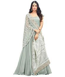 8c99b61dabb Quick View. Fashion Basket White and Grey Georgette Anarkali Semi-Stitched  Suit