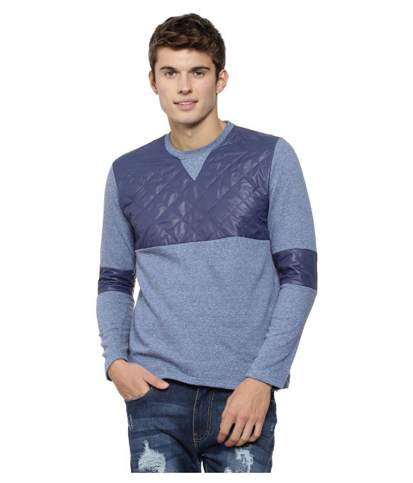 Campus Sutra Blue Round Sweatshirt
