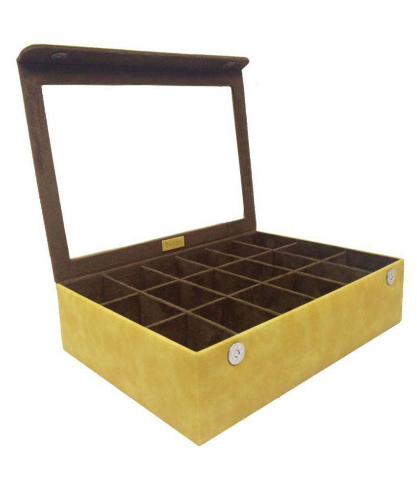 Faux Leather Plain finish Bangle Box (35cm x 23cm x 7.5cm) with magnetic clsoure & transparent lid feature - BN-006-Yellow