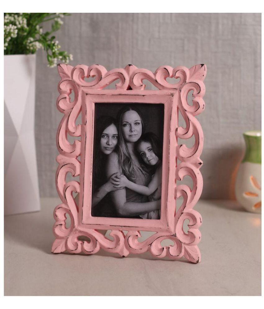 Yatha Wood Pink Single Photo Frame - Pack of 1