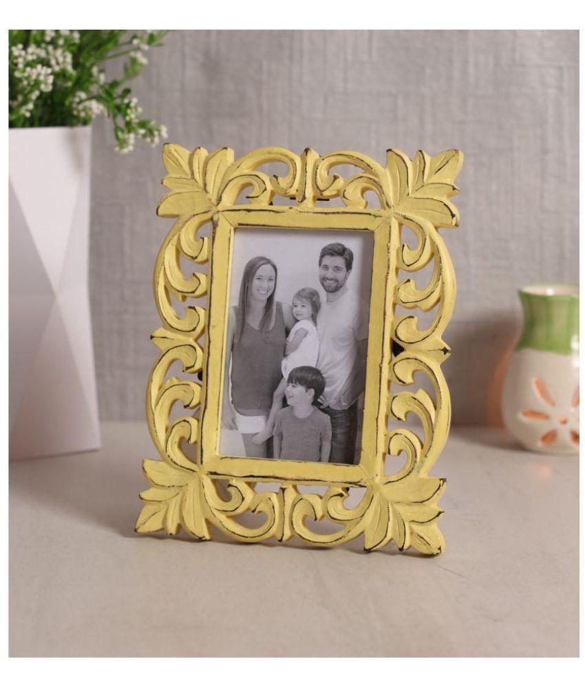 Yatha Wood Yellow Single Photo Frame - Pack of 1