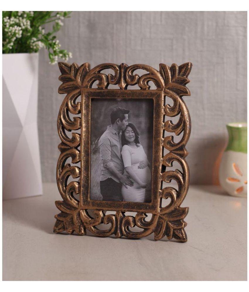 Yatha Wood Gold Single Photo Frame - Pack of 1
