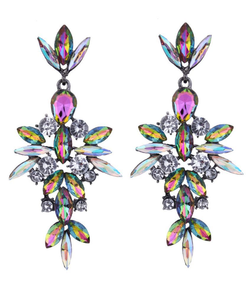 Levaso Fashion Jewelry Womens Earrings Ear Studs Alloy Floral Flower 1Pair Personality Gifts Multi Color