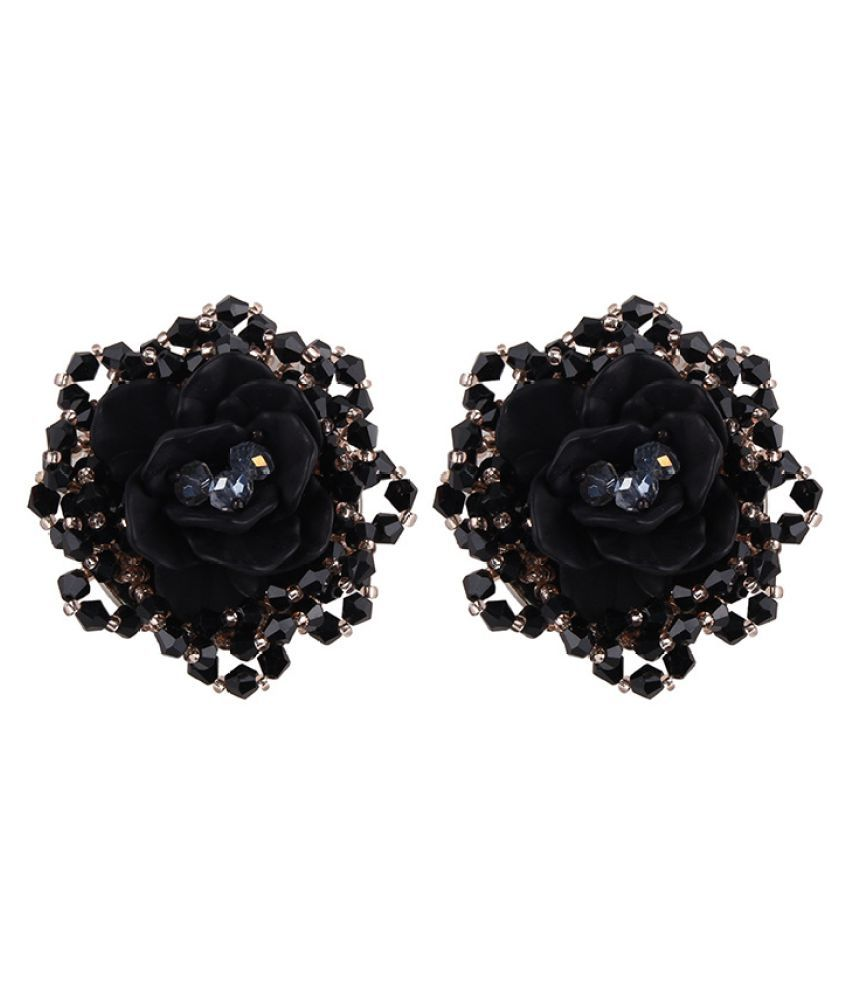 Levaso Fashion Jewelry Womens Earrings Ear Studs Floral Flower 1Pair Personality Gifts Black