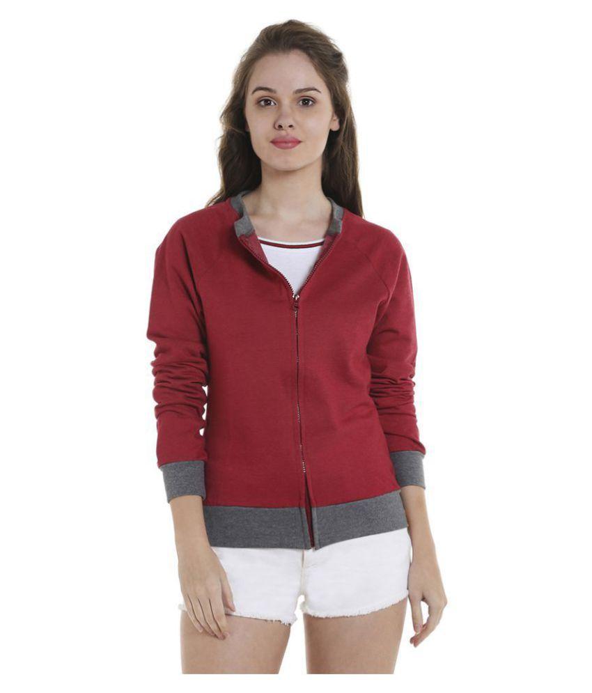 Campus Sutra Cotton Maroon Zippered Sweatshirt