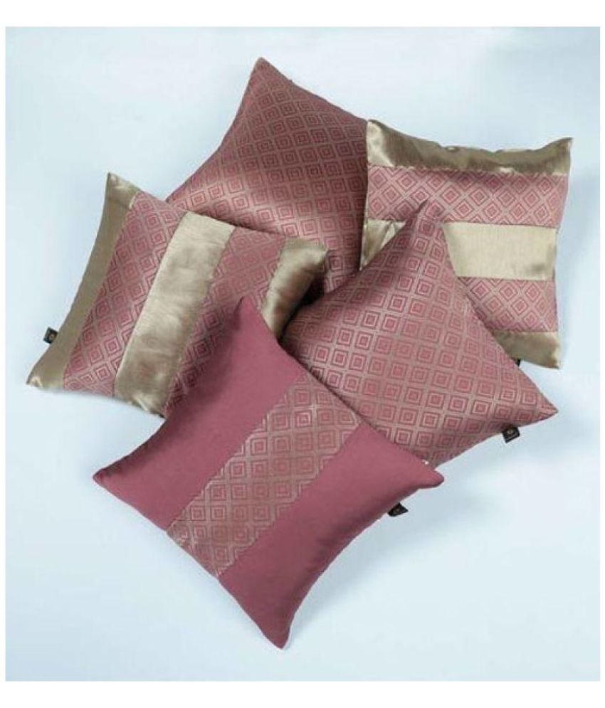 Lushomes Set of 5 Polyester Cushion Covers 40X40 cm (16X16)
