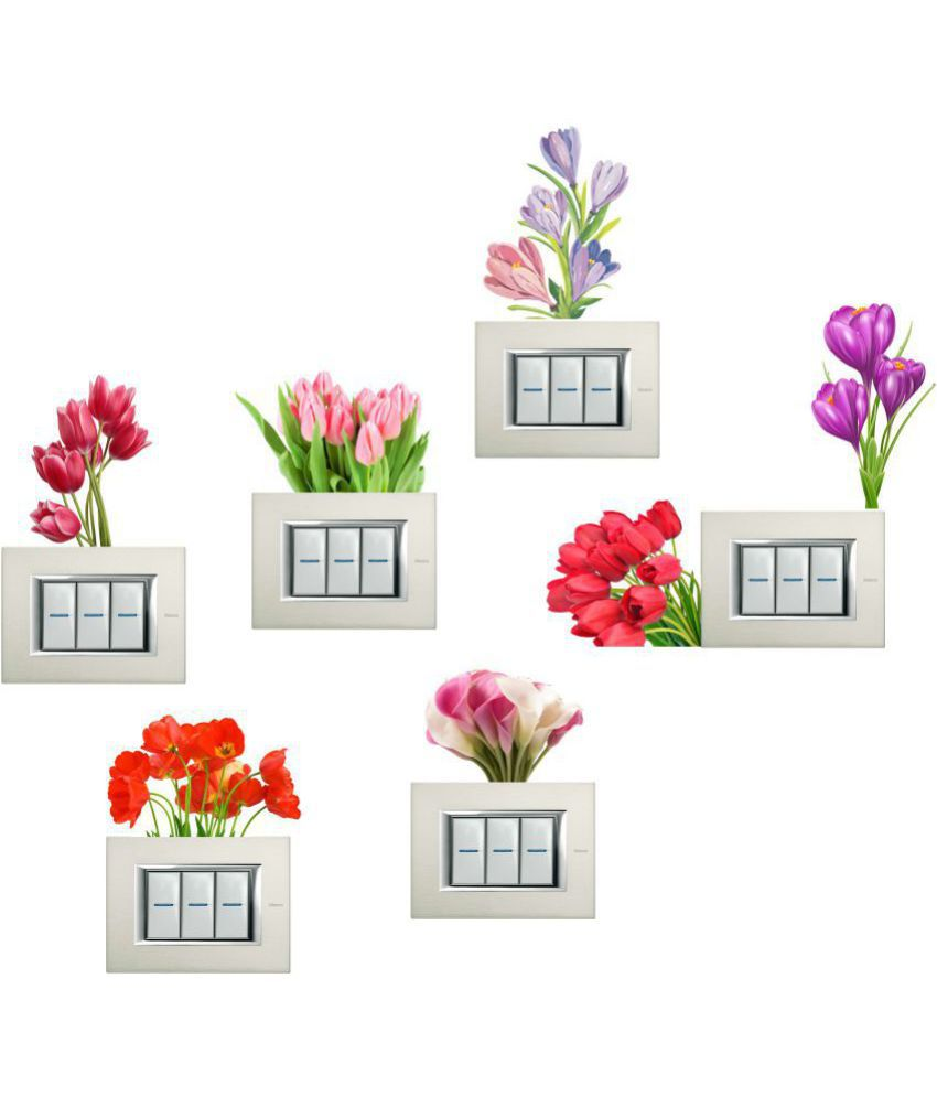wall dreams Tulip flowers Vinyl Switch Board Sticker - Pack of 7