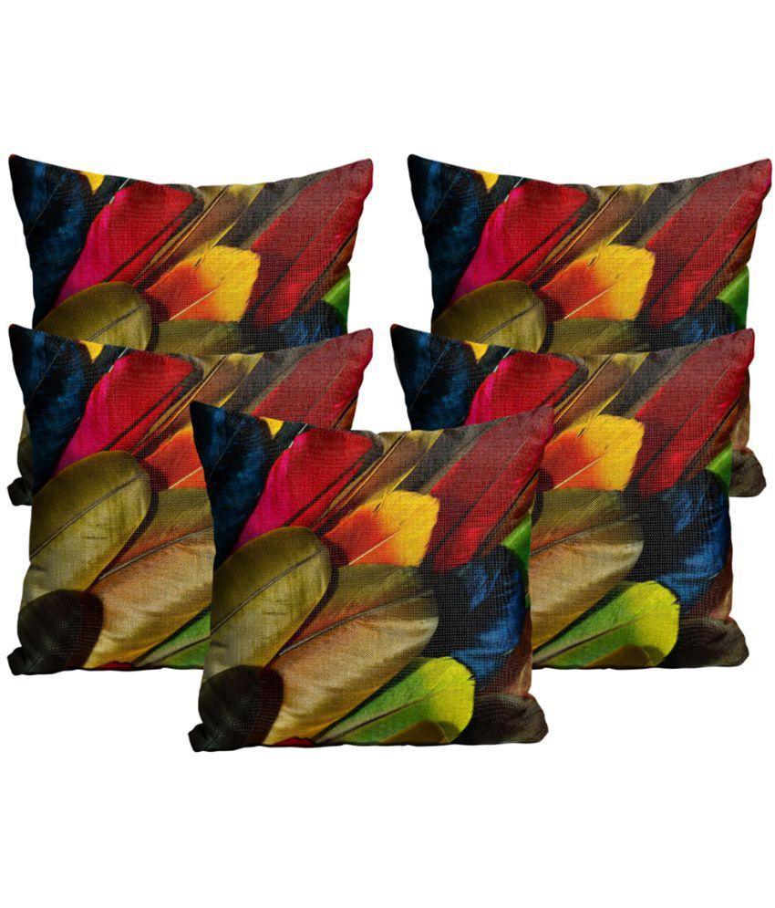 Mukesh Handicrafts Set of 5 Jute Cushion Covers 30X30 cm (12X12)
