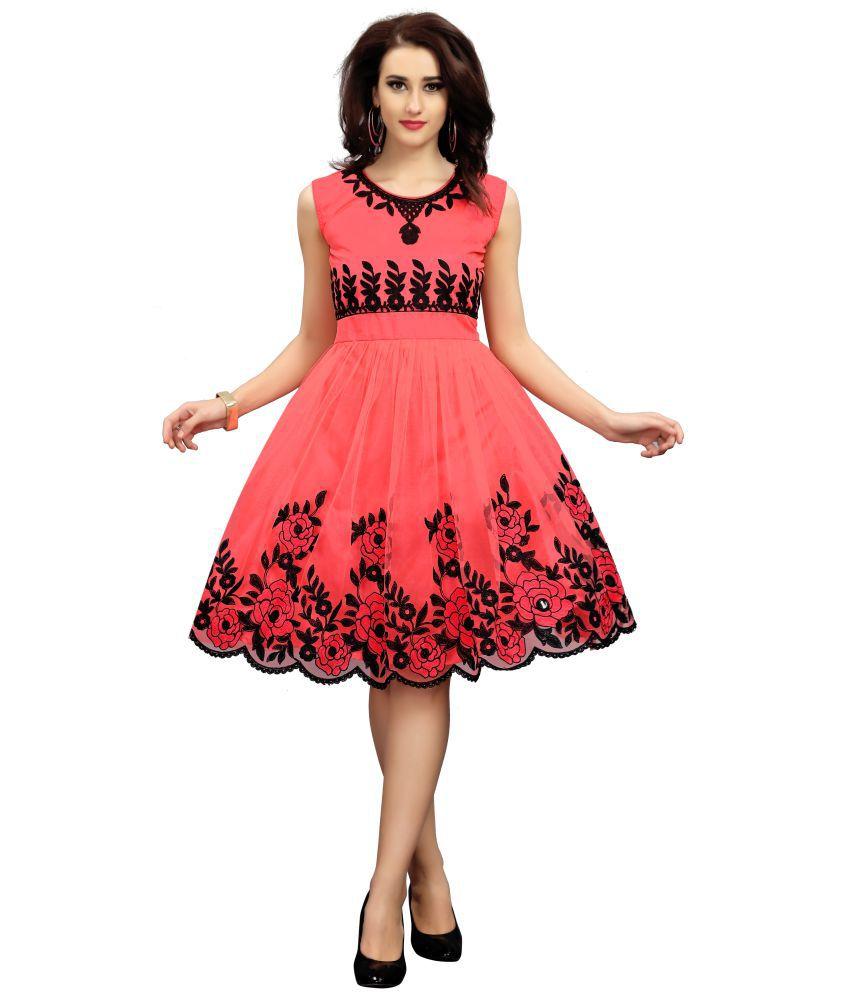 Rahi Fashion Net Peach Fit And Flare Dress