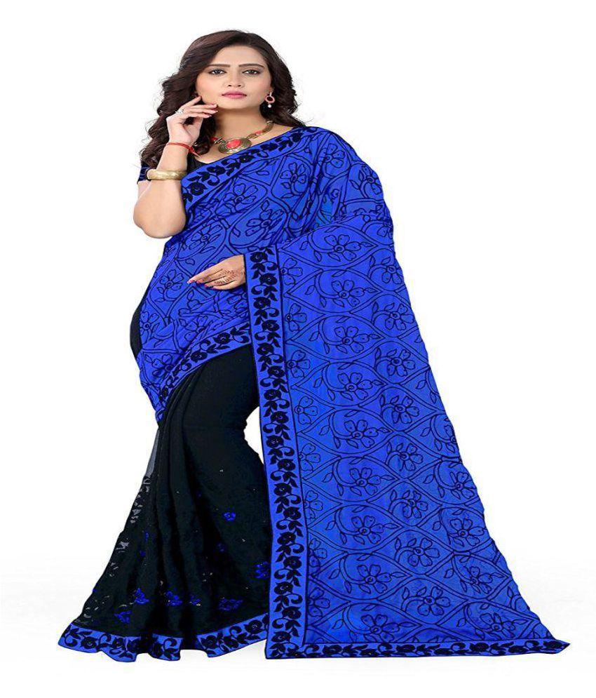 Sunshine Fashion Blue Georgette Saree