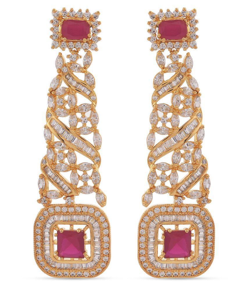 Tistabene Contemporary Designer Red Colored Stones Dangler Earrings | AD American Diamonds Gold Plated Dangler Earrings | Latest Trendy Modern Party Wear Designer Dangler Earrings For Women and Girls (ER-4121)