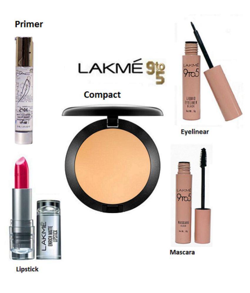 Lakme 9 To 5 Eyelinear+Mascara+Lipstick & Mac Primer+Compact Makeup Kit gm: Buy Lakme 9 To 5 Eyelinear+Mascara+Lipstick & Mac Primer+Compact Makeup Kit gm ...