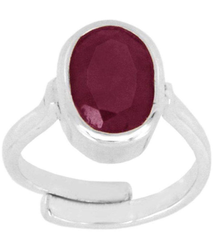 Ruby ( Manik ) Gemstone Adjustable 100% Silver Ring of 5 Carat