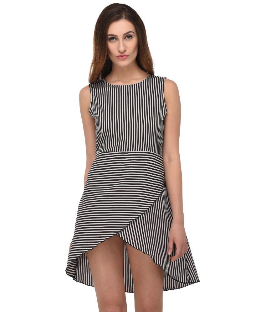 Triraj Poly Crepe Multi Color Dresses