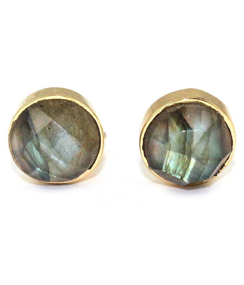G-Vogue Stylish Natural Labradorite Gemstone Stud Earrings For Woman Fashion Jewellery