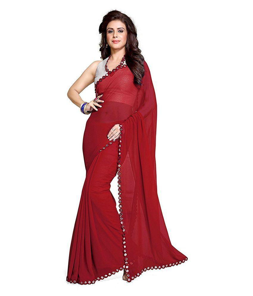 Nena Fashion Red Georgette Saree