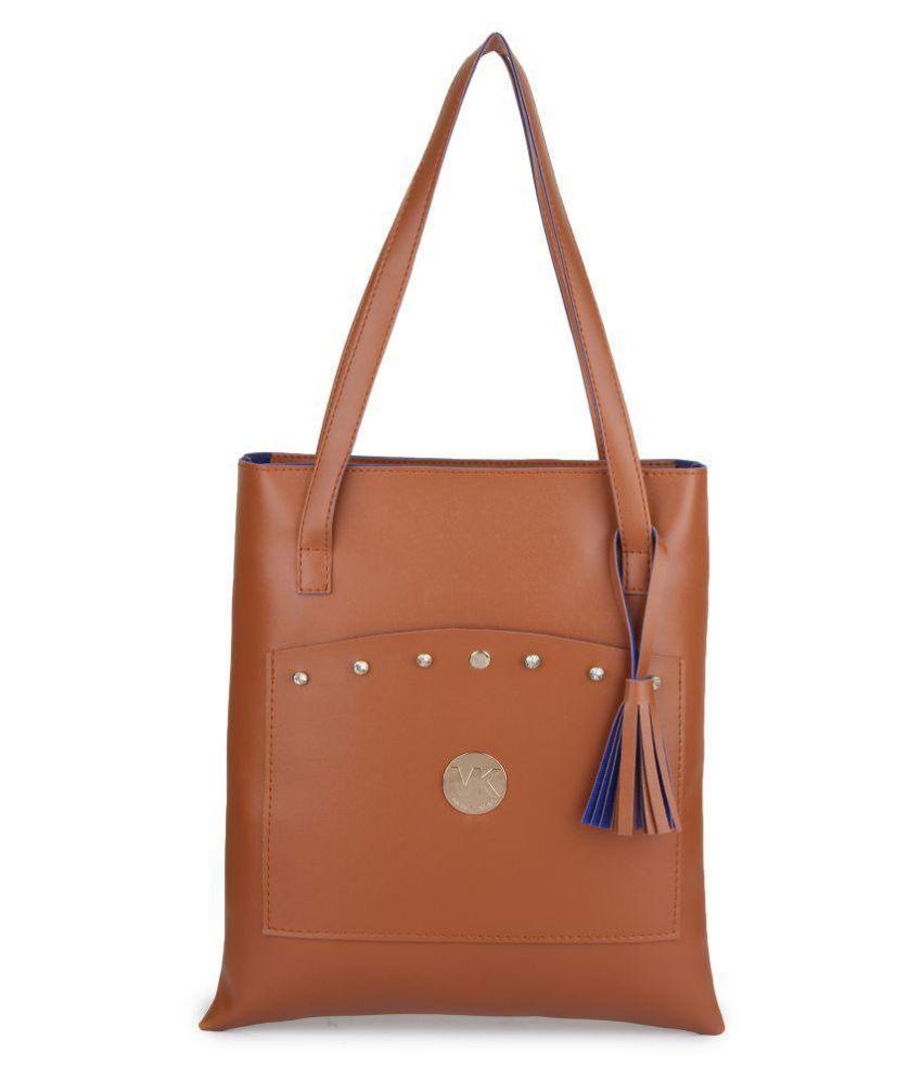 Style Villaz Tan Faux Leather Tote Bag