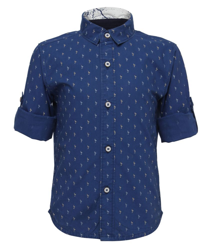 Tales & Stories Navy Blue Cotton Printed Full Sleeved Shirts for Baby Boys