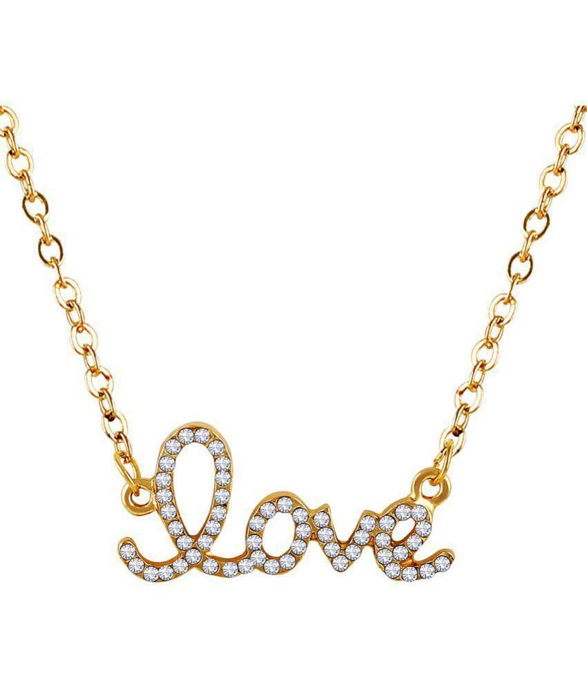 2e7e8a6323013 Asmitta Youthful Love Shape Diamond Gold Plated White Stone Pendant ...