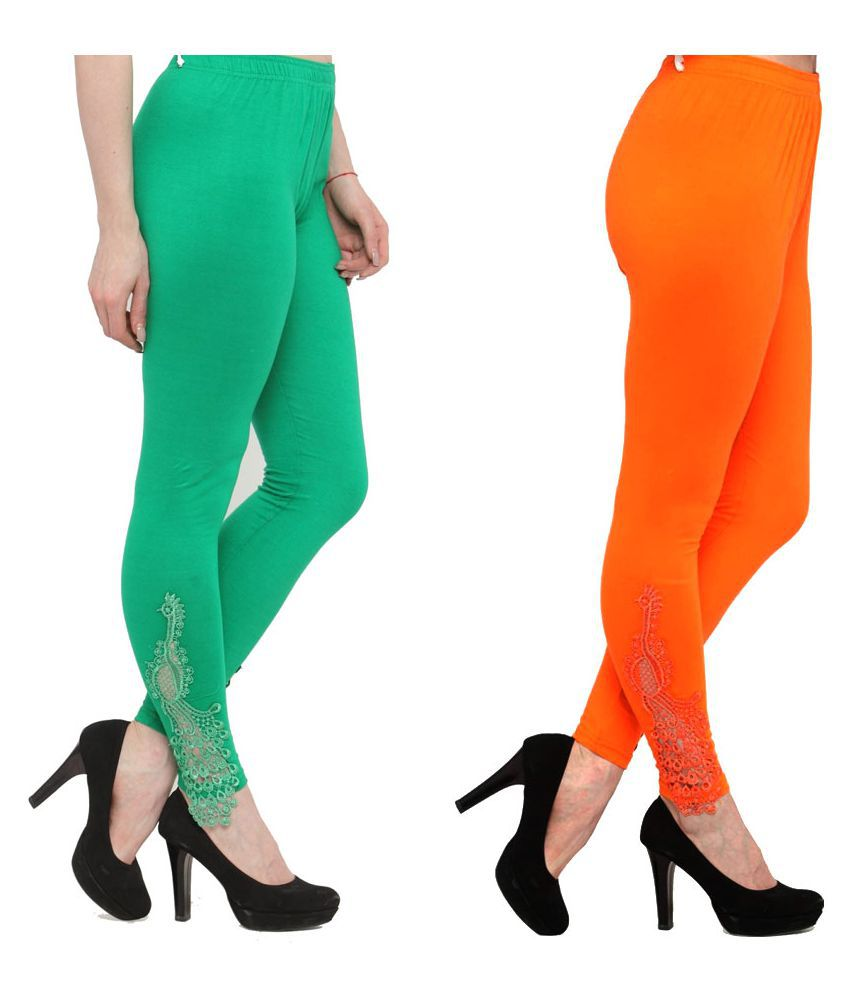Janvi Designer Cotton Lycra Pack of 2 Leggings
