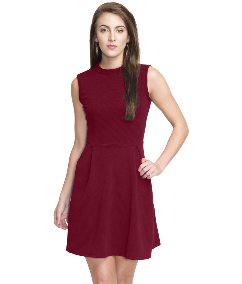 Addyvero Cotton Lycra Maroon Skater Dress