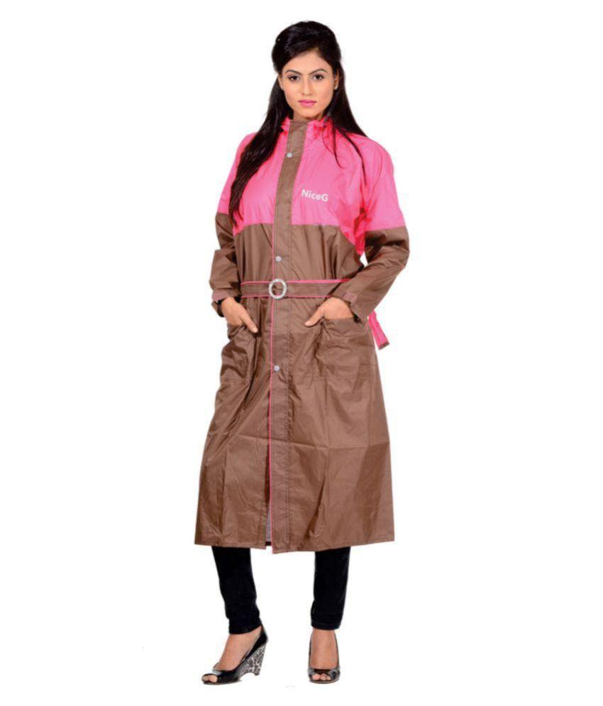 NiceG Nylon Long Raincoat - Brown