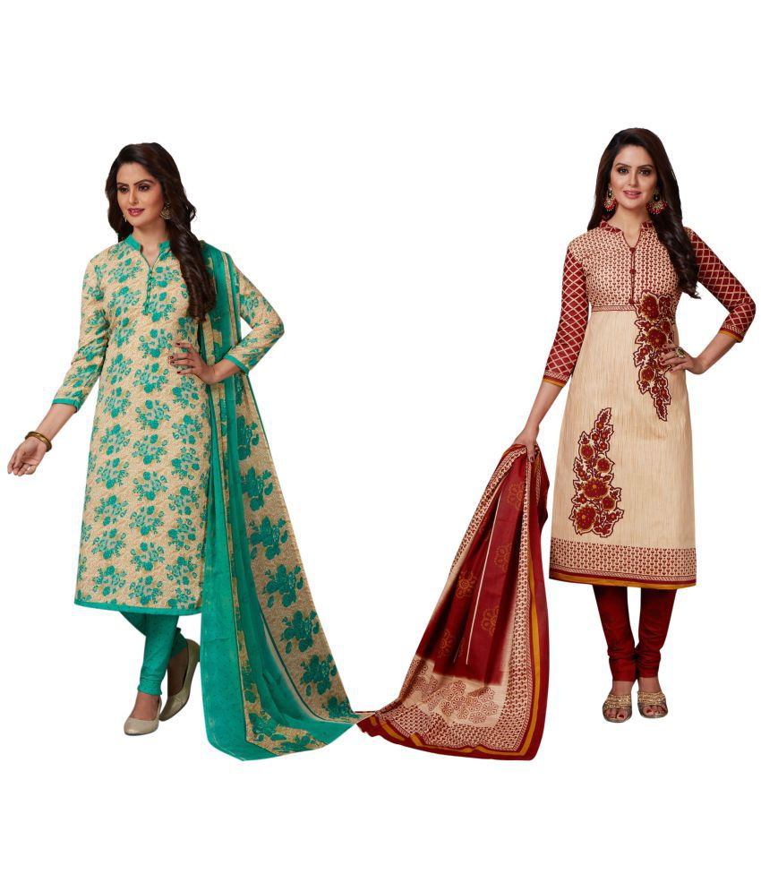 Risera Green and Beige Synthetic Dress Material