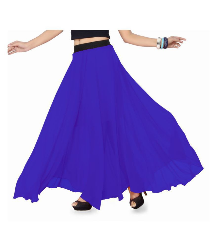 Ishin Georgette A-Line Skirt - Blue