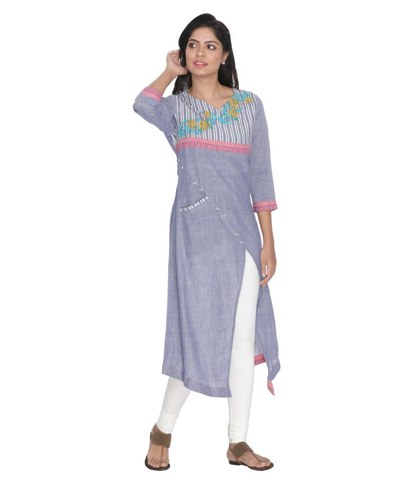 Nakshi Blue Cotton Asymmetrical Hemline Kurti