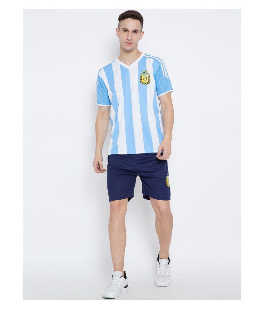 Sportigo Printed Men V-neck Blue, White T-Shirt