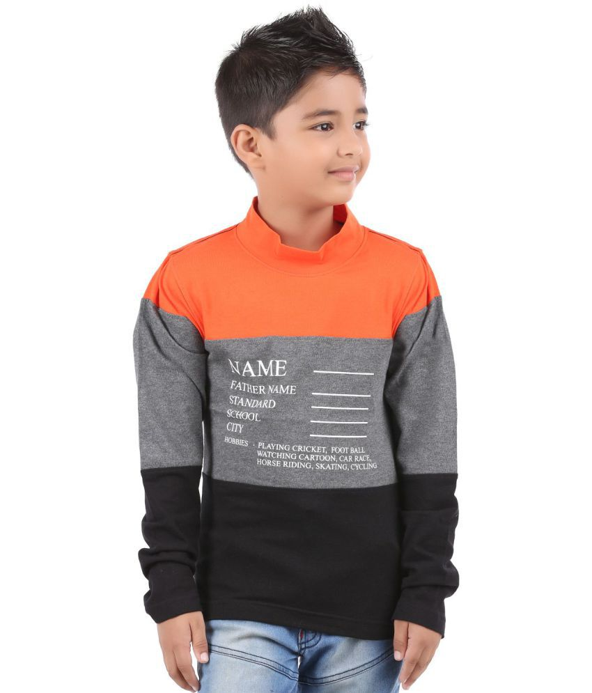 BodyGlove Color Block High Neck Full Sleeves T Shirt For Boys