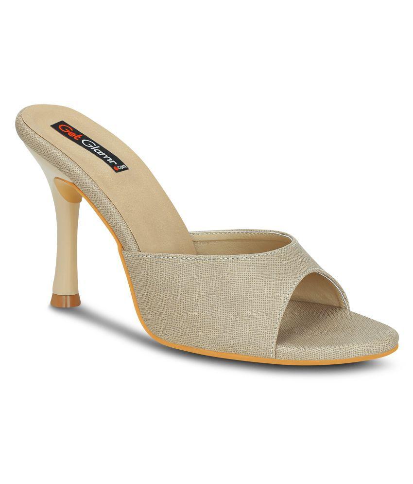 Get Glamr Beige Stiletto Heels