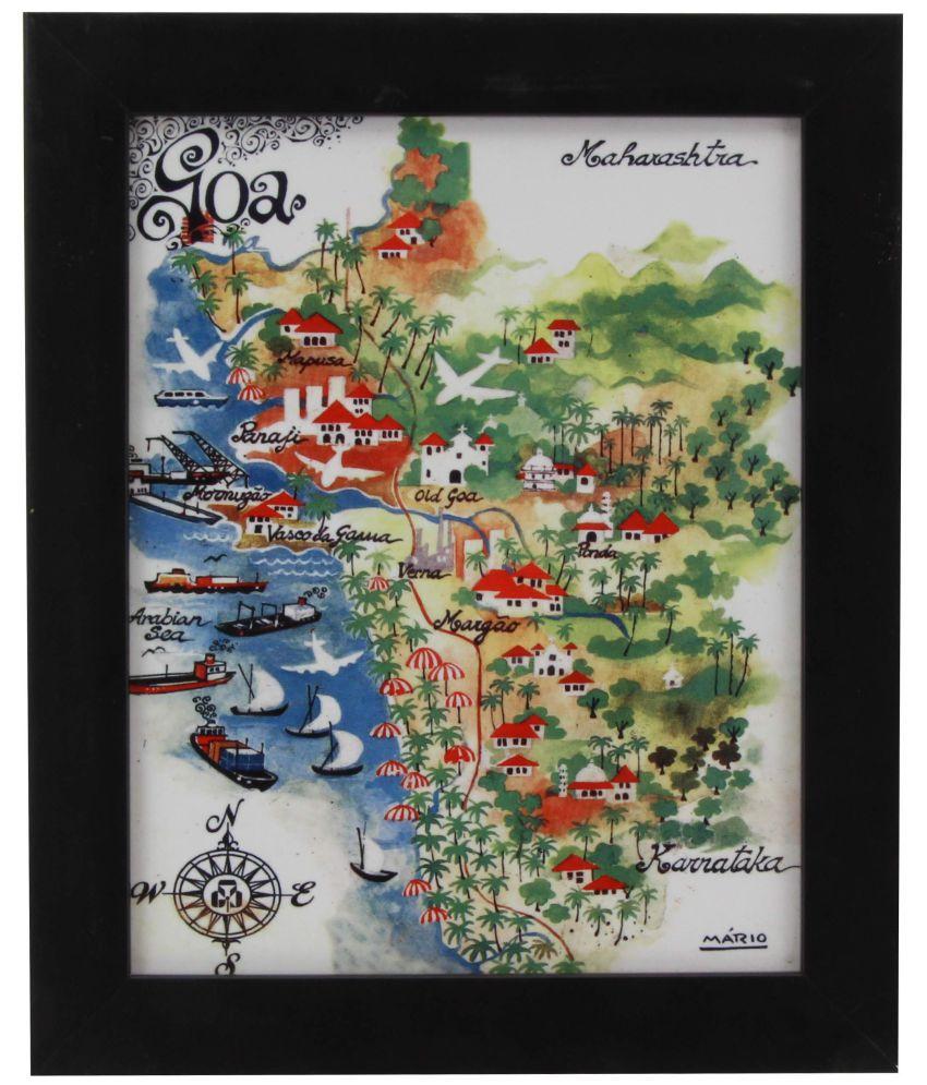 The Home MARIO DE MIRANDA WALL PAINTING SINGLE TILE TC C4 GOA MAP BLACK COLOUR Canvas Painting With Frame