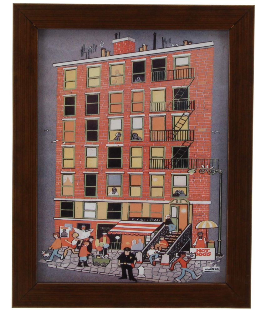 The Home MARIO DE MIRANDA APARTMENT BLOCK IN NEW YORK-C3 WALL TILE PAINTING Canvas Painting With Frame