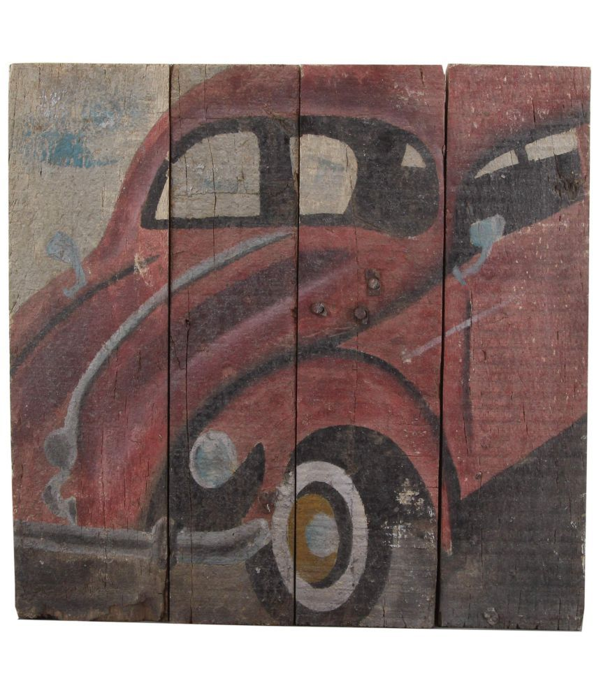 The Home WALL PAINTING MEDIUM WOOD COLOUR 15.5X16 INCH Wood Painting Without Frame