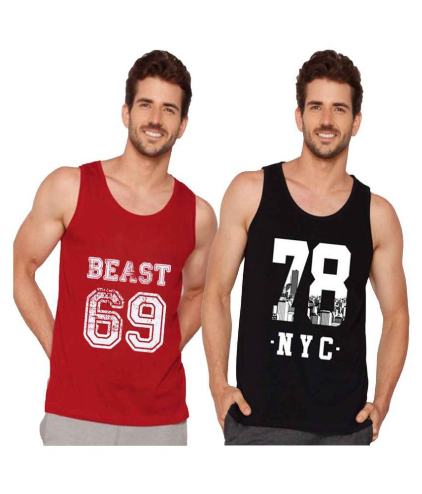 Veirdo Red Sleeveless T-Shirt Pack of 2