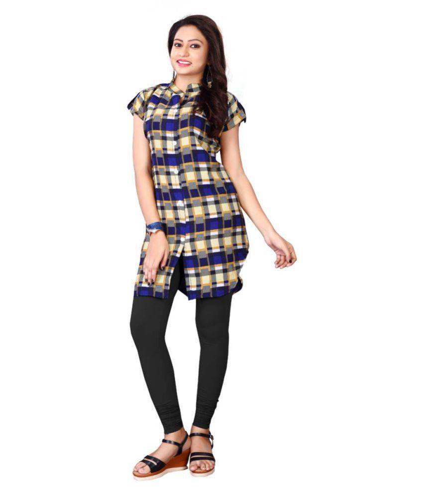Fashion Founder Multicoloured Crepe Front Slit Kurti