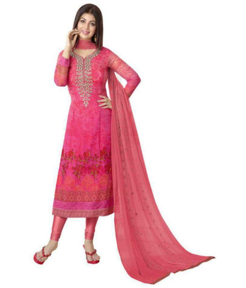 MF Pink Georgette Dress Material