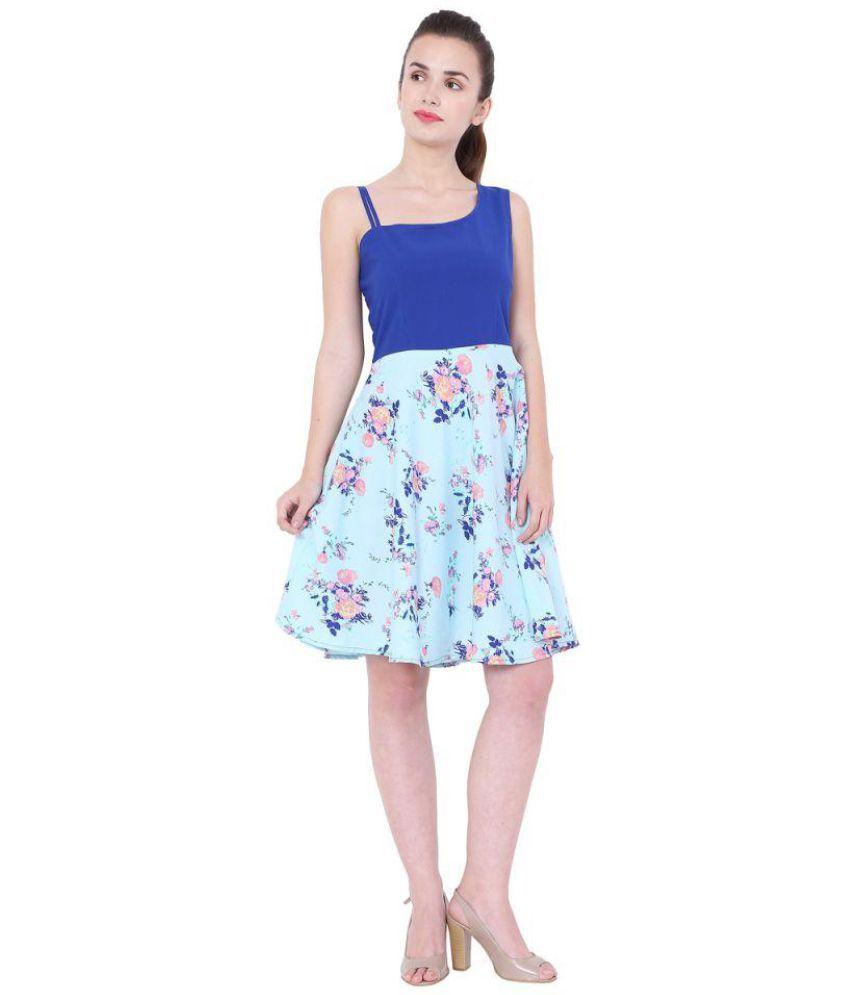 Mermaid Ocean Poly Crepe Blue A- line Dress