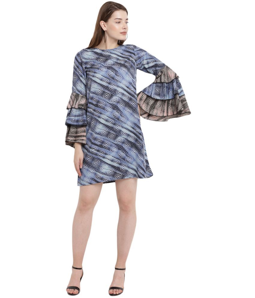 e39f7b5b454 Abiti Bella Crepe Blue A- line Dress - Buy Abiti Bella Crepe Blue A- line  Dress Online at Best Prices in India on Snapdeal