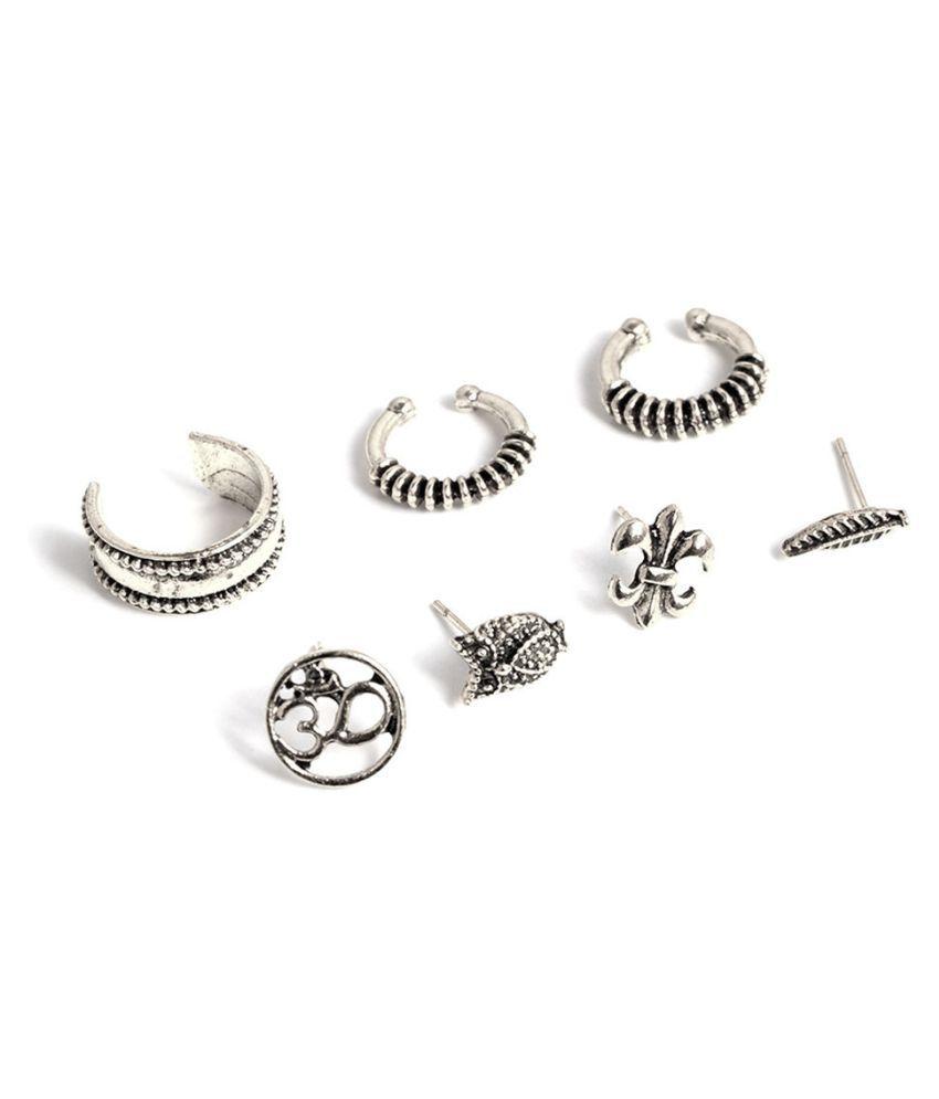 Levaso Fashion Earrings Ear Studs Alloy Ring Jewelry Set Silver