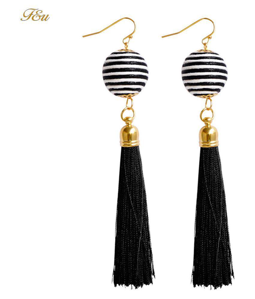 Levaso Fashion Earrings Ear Studs Alloy National Tassels Jewelry White