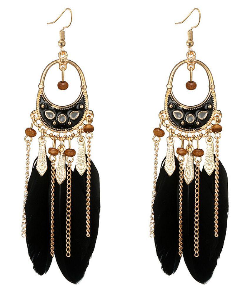 Levaso Fashion Earrings Ear Studs Feather National Tassels Jewelry Red