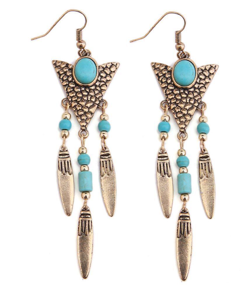 Levaso Fashion Earrings Ear Studs Alloy National Tassels Jewelry Golden