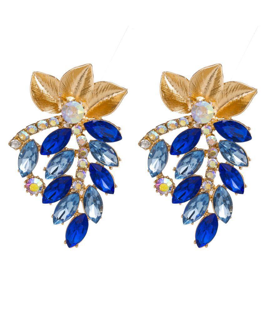 Levaso Fashion Earrings Ear Studs Alloy Bohemia Diamond Jewelry Blue