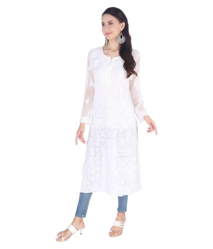 The Material Woman White Georgette Straight Kurti