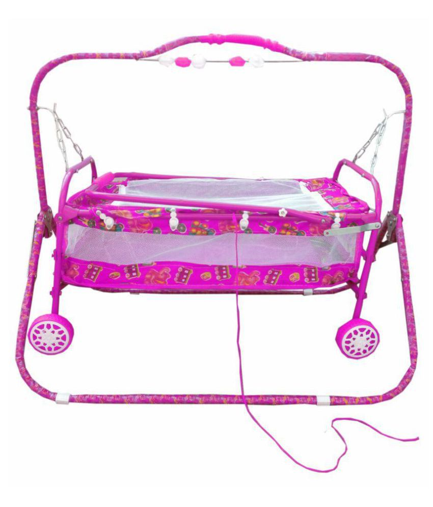 Oh Baby Baby Pink Bassinets And Cradles(Jhulla Baggi And Palna Baggi) With Mosquito Net For Your Kids Se-Jp-24