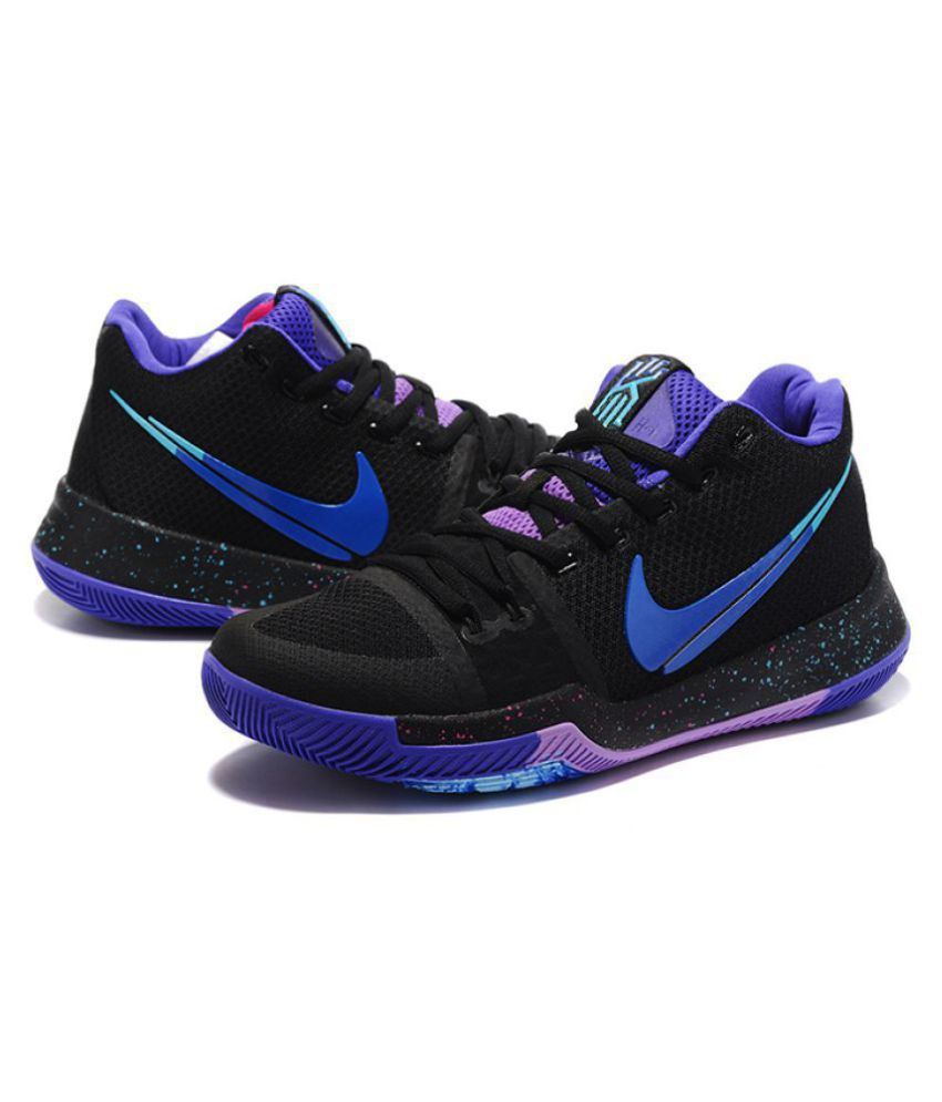 detailed look cc647 6fa5b Nike Kyrie 3 Black Basketball Shoes