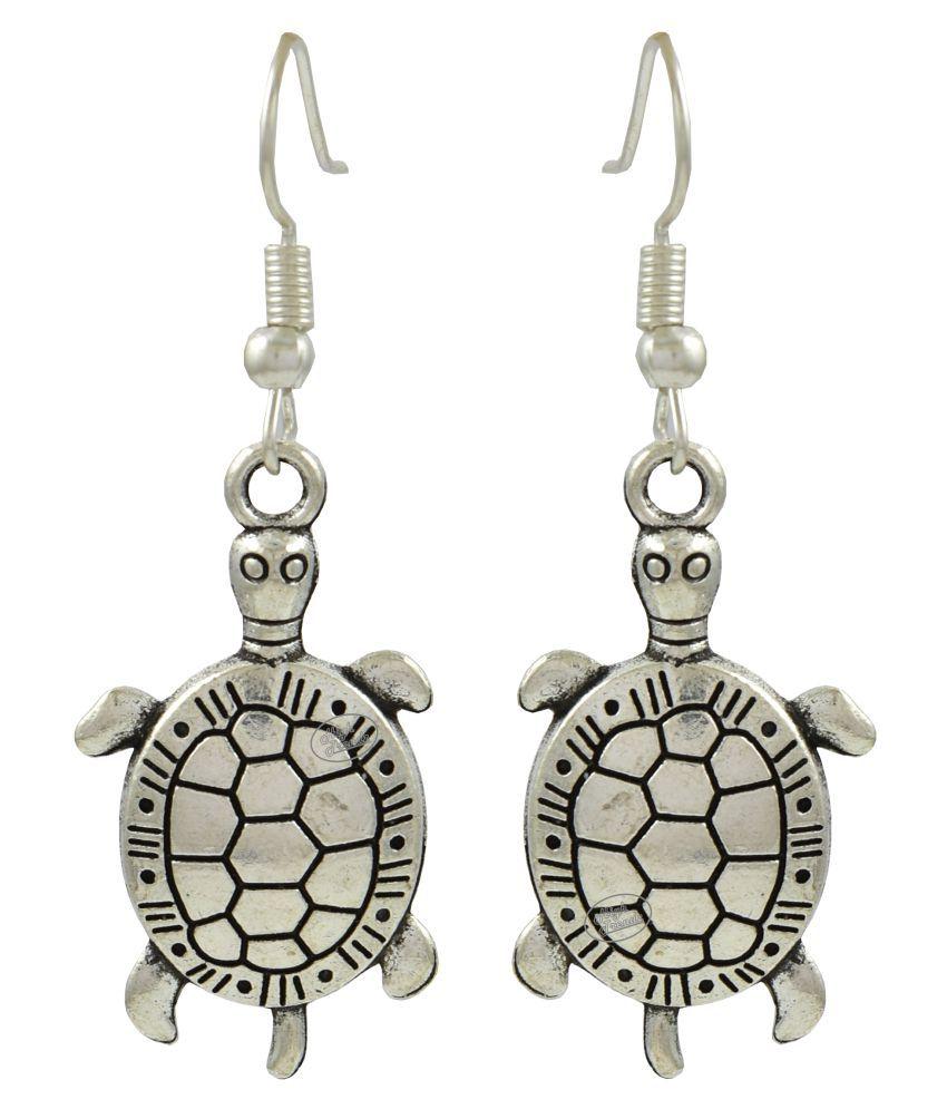 High Trendz Oxidised German Silver Stylish Tortoise Charm Hoop Earrings  For Women And Girls